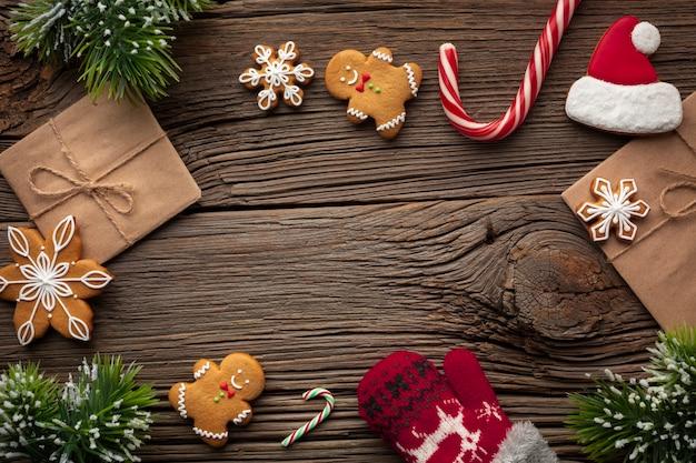 テーブルの上のトップビュークリスマスコンセプト 無料写真