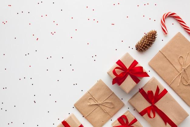 コピースペースでトップビュークリスマスプレゼント 無料写真