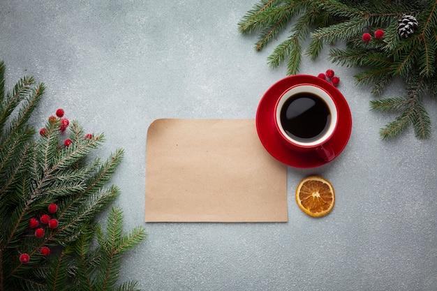 モックアップとコーヒーのトップビュー 無料写真