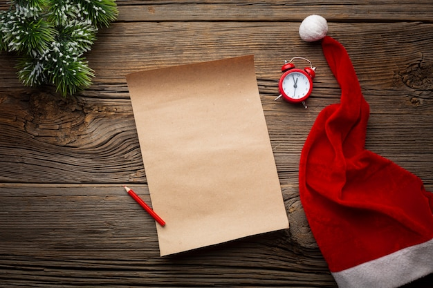 Вид сверху рождественская записка с макетом Бесплатные Фотографии