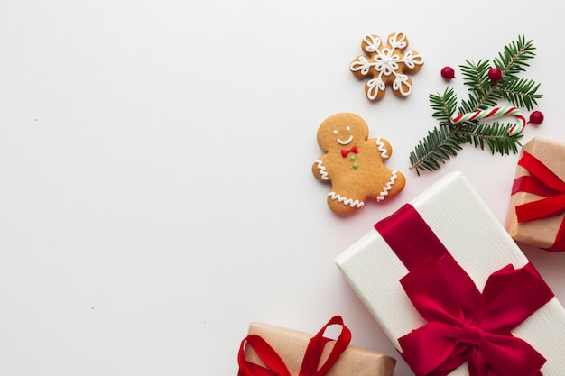 コピースペースを持つトップビュークリスマス装飾 無料写真