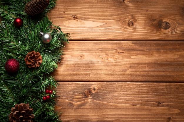 コピースペースでトップビュークリスマス装飾 無料写真