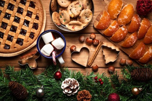 お菓子とトップビューホットチョコレート 無料写真