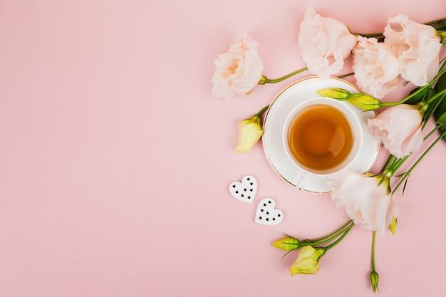 コピースペースの花とお茶 無料写真