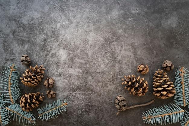 モミの木の小枝とコピースペースを持つフラットレイアウトフレーム 無料写真