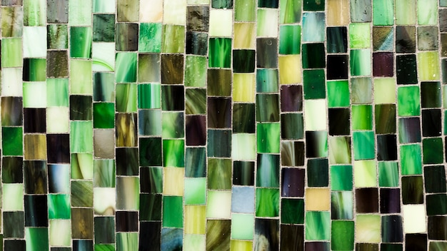 タイル形状のテクスチャの緑のモザイク 無料写真