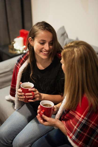 クリスマスに娘と母が一緒に 無料写真