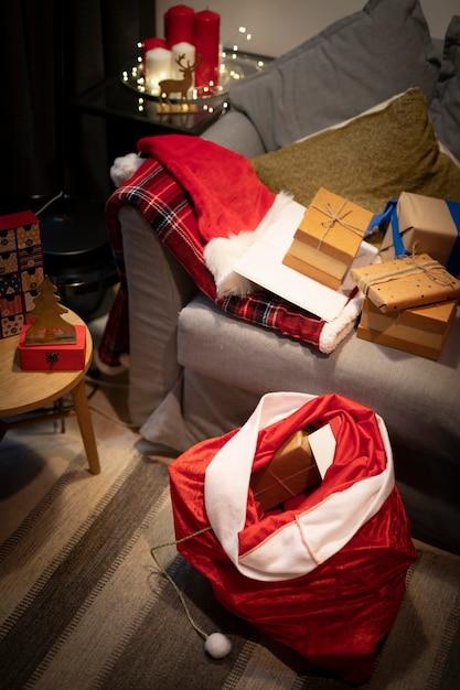 Высокий угол рождественский мешок с подарками Бесплатные Фотографии
