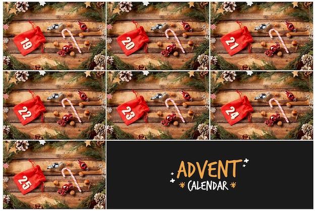 アドベントカレンダーデザイン用の番号付きポーチ 無料写真