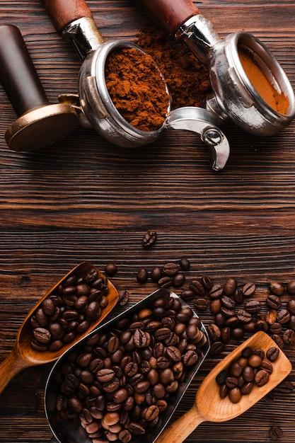 トップビューのコーヒー豆の付属品 無料写真