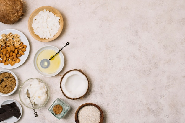 栄養価の高いココナッツ製品フレーム 無料写真