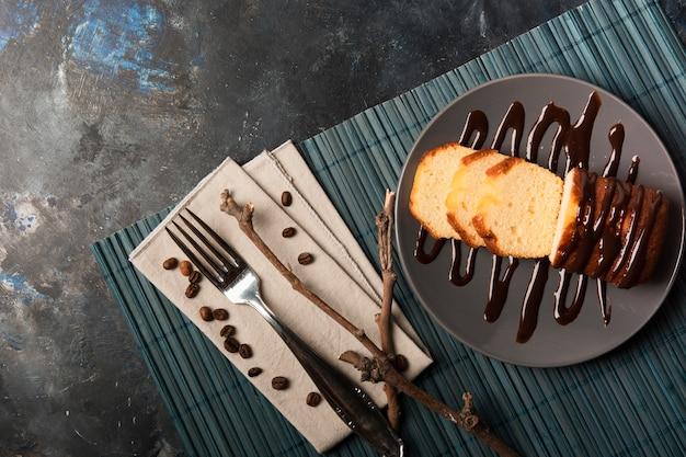 甘いチョコレートケーキトップビュー 無料写真