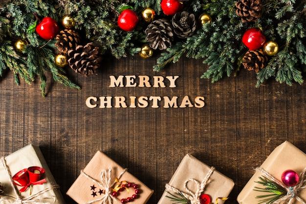 Вид сверху с рождеством надписи Бесплатные Фотографии