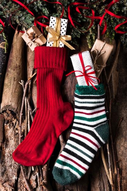 クリスマスソックスギフトの準備ができて 無料写真