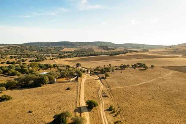 Равнина и лес с дорогой, взятой дроном Бесплатные Фотографии