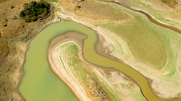 Плоский лежал красивый речной курс взят дрон Бесплатные Фотографии