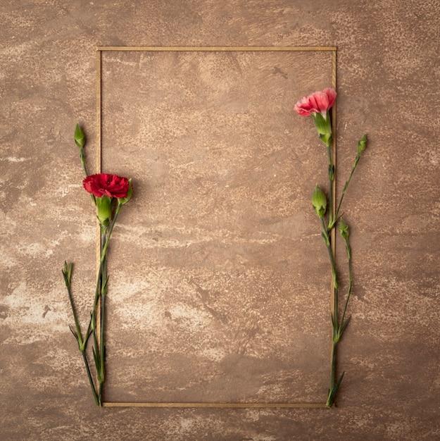 小さなカーネーションの花を持つビンテージセピアフレーム 無料写真