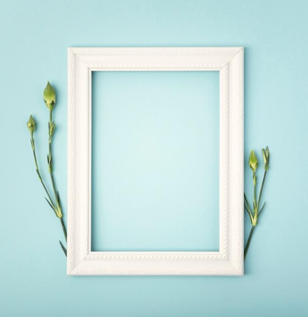 コピースペースの空のフレームとタンポポの茎 無料写真