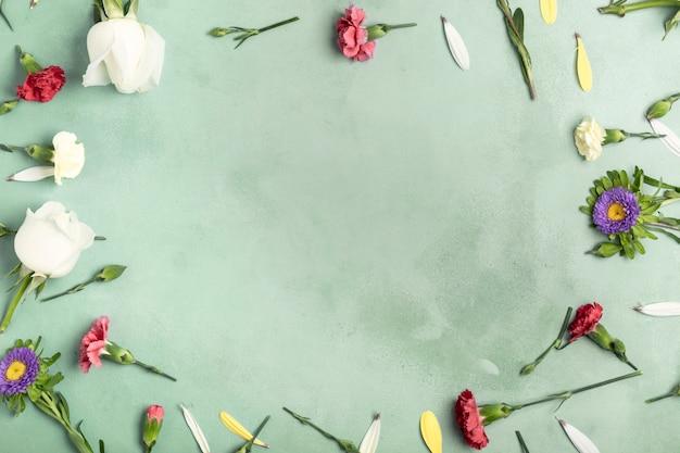 コピースペースを持つカーネーションの花のフレイレイアウトフレーム 無料写真