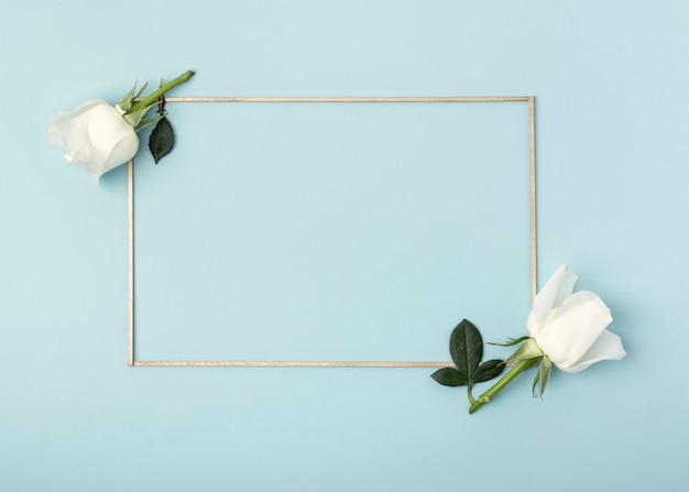白いバラの花と青い背景上のフレーム 無料写真
