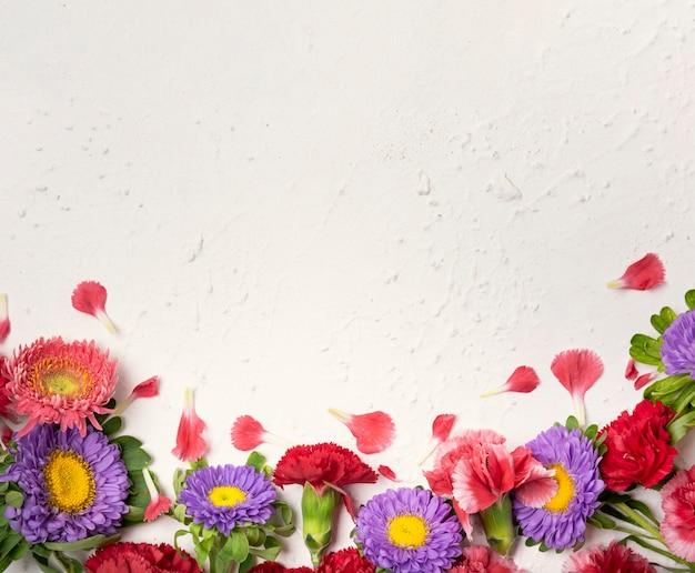 色とりどりの花とコピースペースのかわいいアレンジメント 無料写真