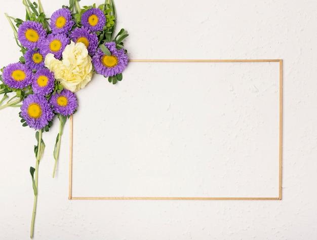 ミニマリストの水平フレームとお祝い花の組成 無料写真