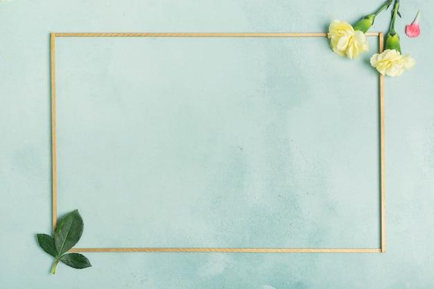 カーネーションの花と葉を持つシンプルなフレーム 無料写真