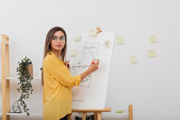 図に取り組んでいる美しいビジネス女性 無料写真