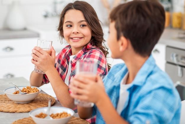 フレッシュジュースを飲む兄弟の側面図 無料写真