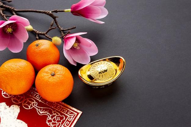 高角みかんとマグノリアの中国の新年 無料写真