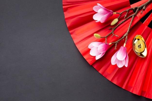 Магнолия и фан китайский новый год Бесплатные Фотографии