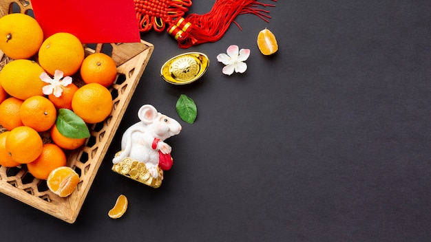 Мандариновая корзинка и крыса китайский новый год Бесплатные Фотографии