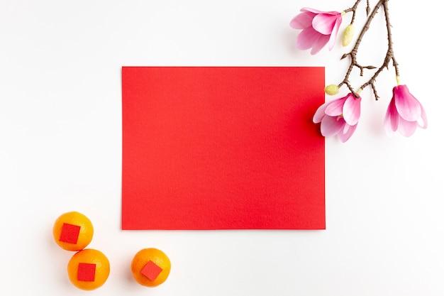 Открытка макет и мандарины новый китайский год Бесплатные Фотографии