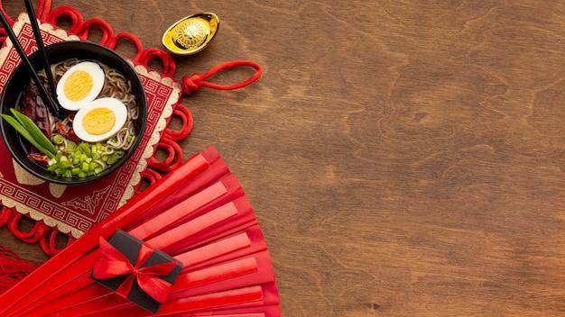 Вид сверху китайское новогоднее блюдо Бесплатные Фотографии
