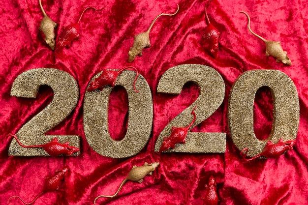 赤いベルベットの新しい中国の年の数 無料写真