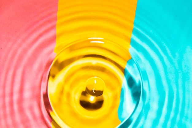 対照的な背景とドロップのクローズアップ水リング 無料写真