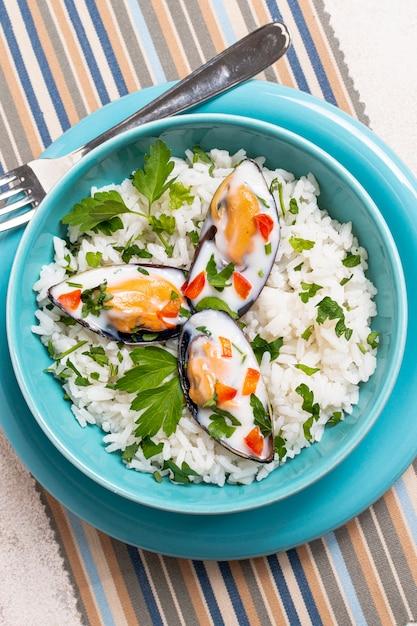 Макро вкусный рис с мидиями Бесплатные Фотографии