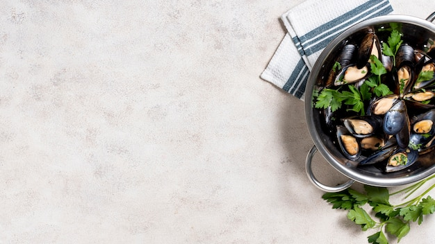 Вид сверху вкусные мидии с копией пространства Бесплатные Фотографии