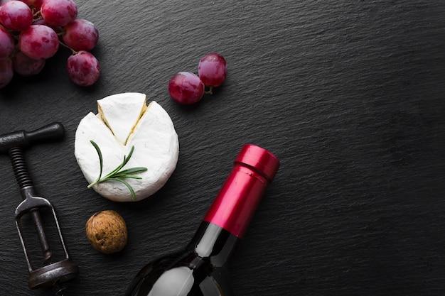 カマンベールブドウとワインのコピースペース 無料写真