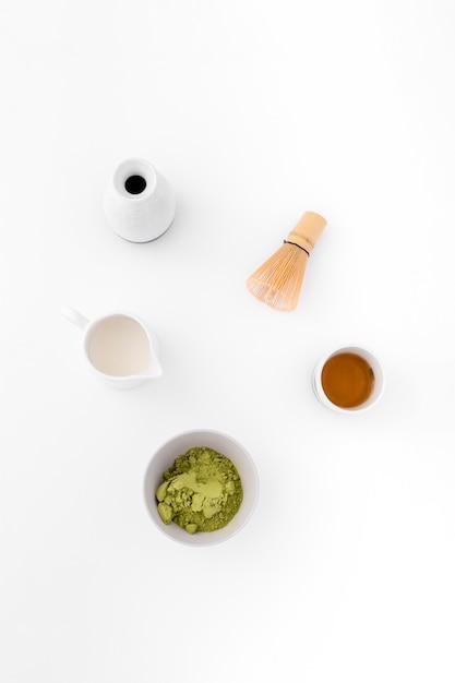 トップビューおいしい抹茶コンセプト 無料写真