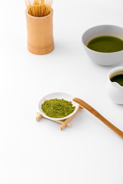 テーブルの上のクローズアップ抹茶コンセプト 無料写真