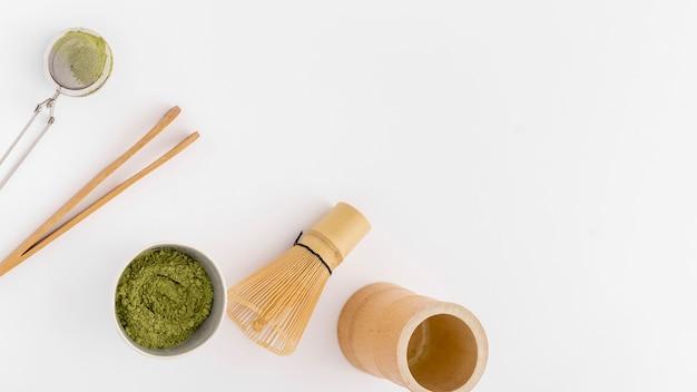 コピースペースを持つトップビュー抹茶コンセプト 無料写真