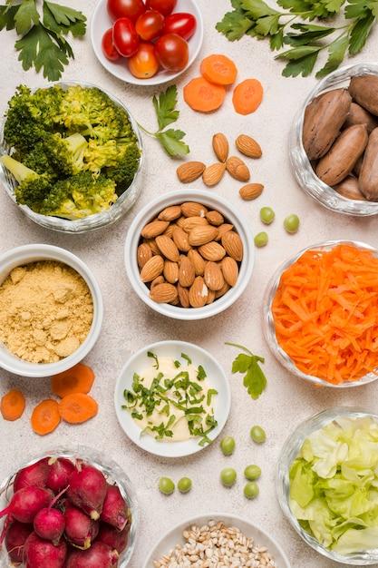 Плоская планировка ассортимента здоровой пищи Бесплатные Фотографии