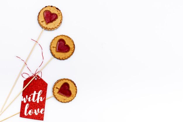 心でバレンタインの日クッキーのフラットレイアウト 無料写真