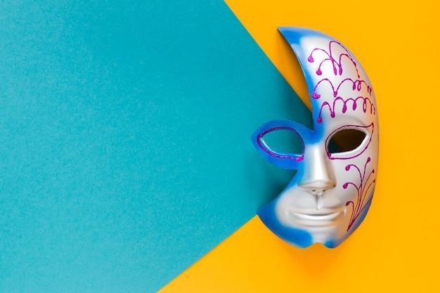 Вид сверху красочные маски для карнавала с копией пространства Бесплатные Фотографии