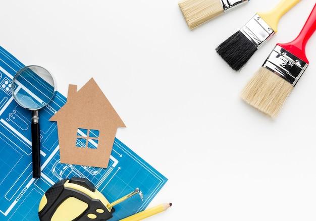 Синяя печать дома и кисти Бесплатные Фотографии