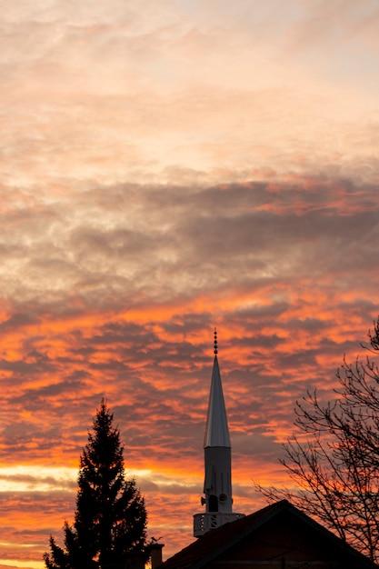 Закатное небо с деревьями и здания Бесплатные Фотографии
