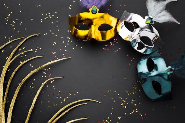キラキラとカラフルなカーニバルマスク 無料写真