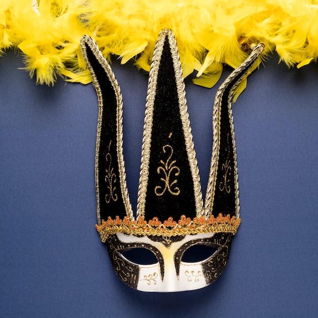 黄色の羽毛製の襟巻のクローズアップと黒のカーニバルマスク 無料写真