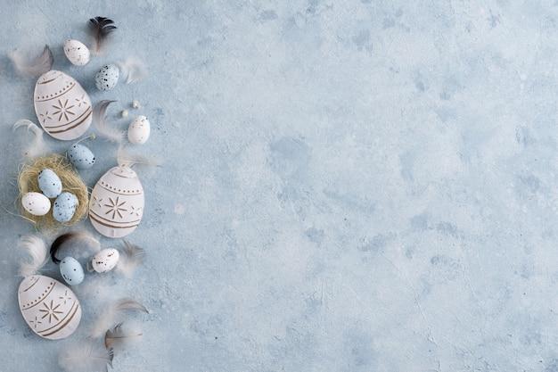 Традиционная концепция пасхальных яиц с копией пространства Бесплатные Фотографии